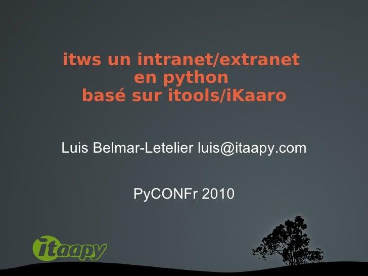 Pyconfr 2010-itws