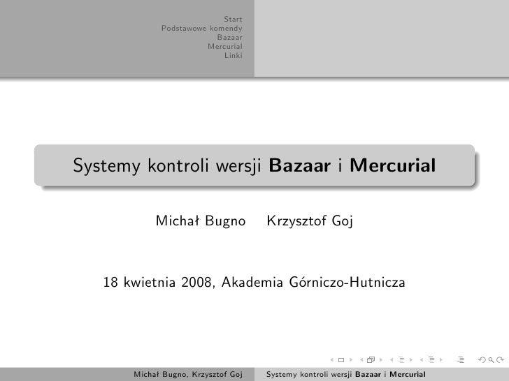 Systemy kontroli wersji Bazaar i Mercurial
