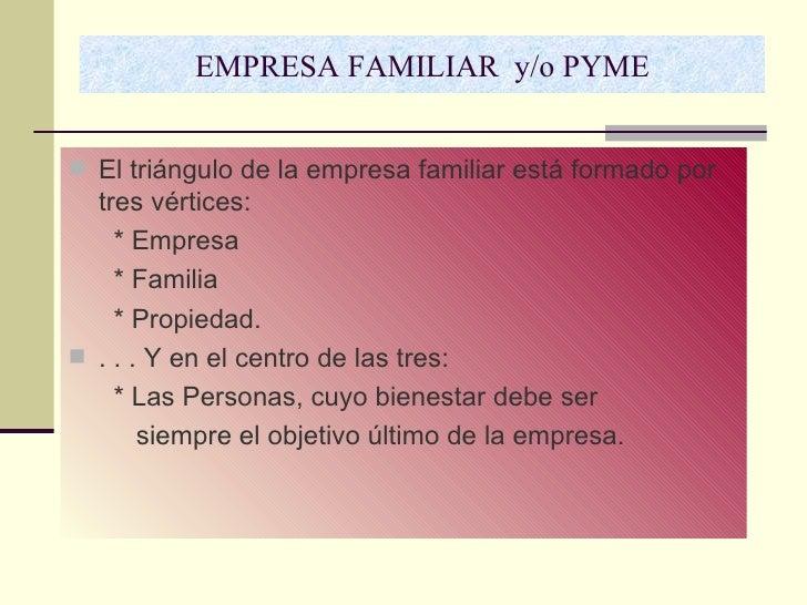 EMPRESA FAMILIAR  y/o PYME <ul><li>El triángulo de la empresa familiar está formado por tres vértices:  </li></ul><ul><li>...