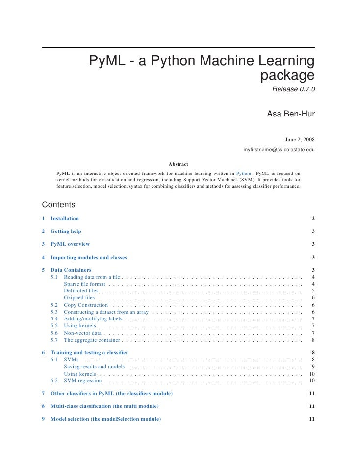 PyML - a Python Machine Learning package
