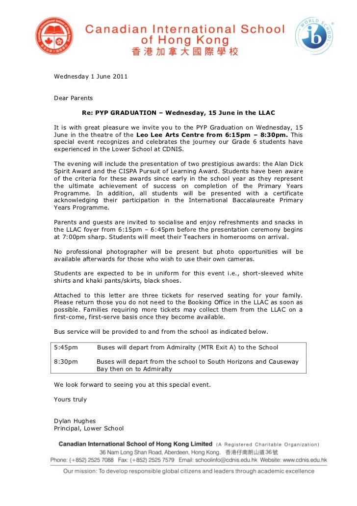 Wednesday 1 June 2011Dear Parents         Re: PYP GRADUATION – Wednesday, 15 June in the LLACIt is with great pleasure we ...