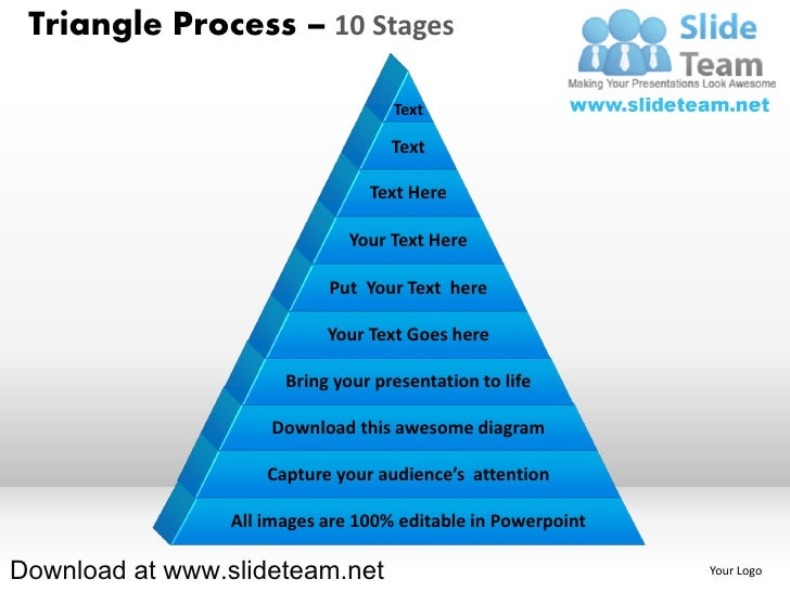 Pyramind triangle built out of puzzle pieces process 10 stages powerpoint diagrams and powerpoint templates