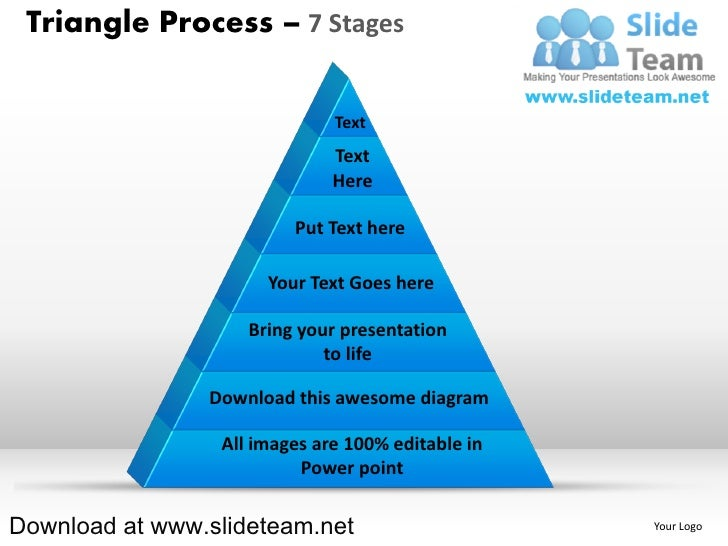 Pyramind triangle built out of puzzle pieces process 7 stages powerpoint presentation slides and ppt templates