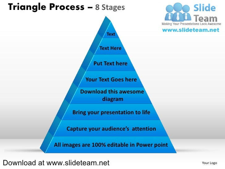 Pyramind triangle built out of puzzle pieces process 8 stages powerpoint presentation slides and ppt templates