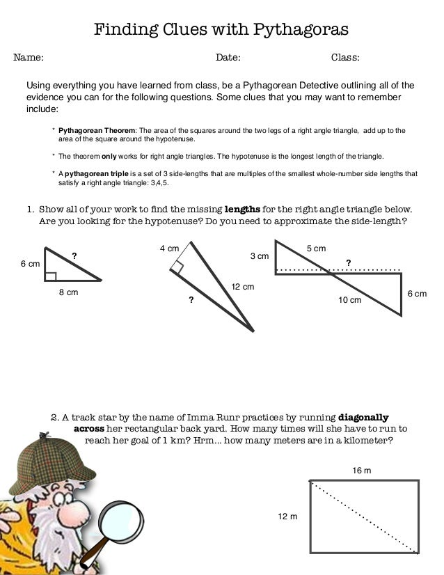pythagorean clues worksheet. Black Bedroom Furniture Sets. Home Design Ideas