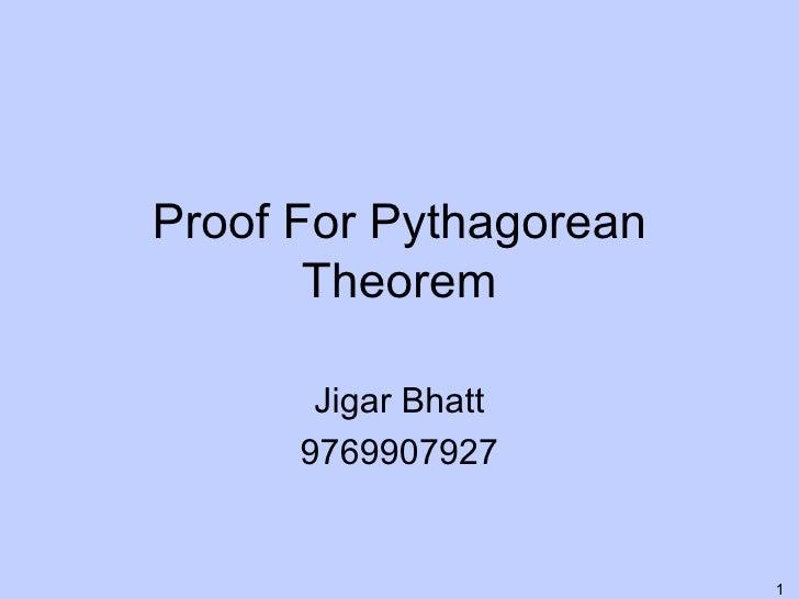 Proof For Pythagorean Theorem Jigar Bhatt 9769907927
