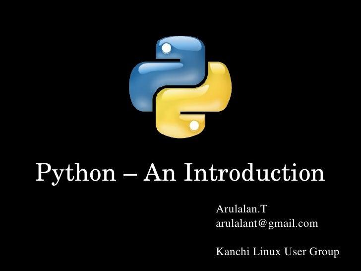 Python An Intro