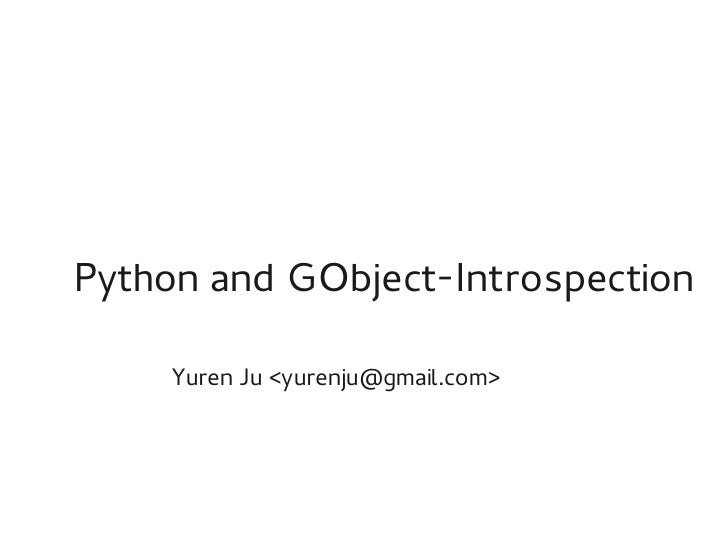 Python and GObject Introspection