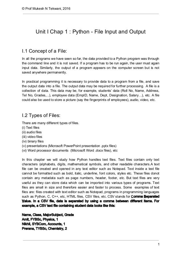 Python    File Input and Output I1 Concept of a File  In all the PDme3whu