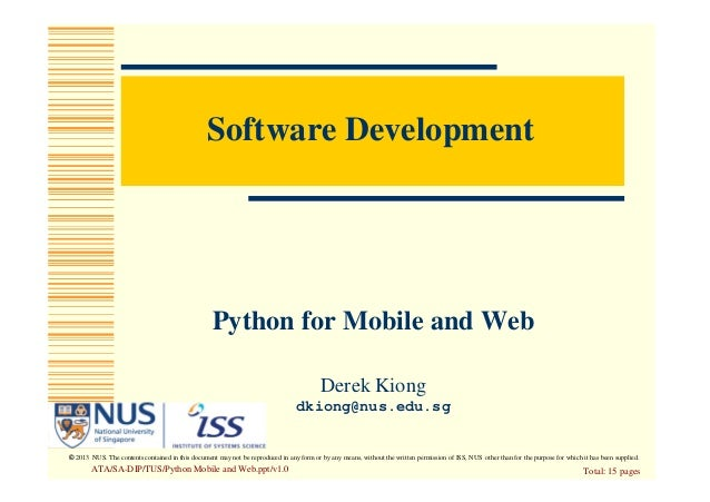 Python for the Mobile and Web