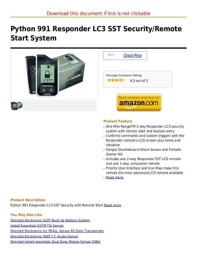 Python 991 responder lc3 sst security remote start system