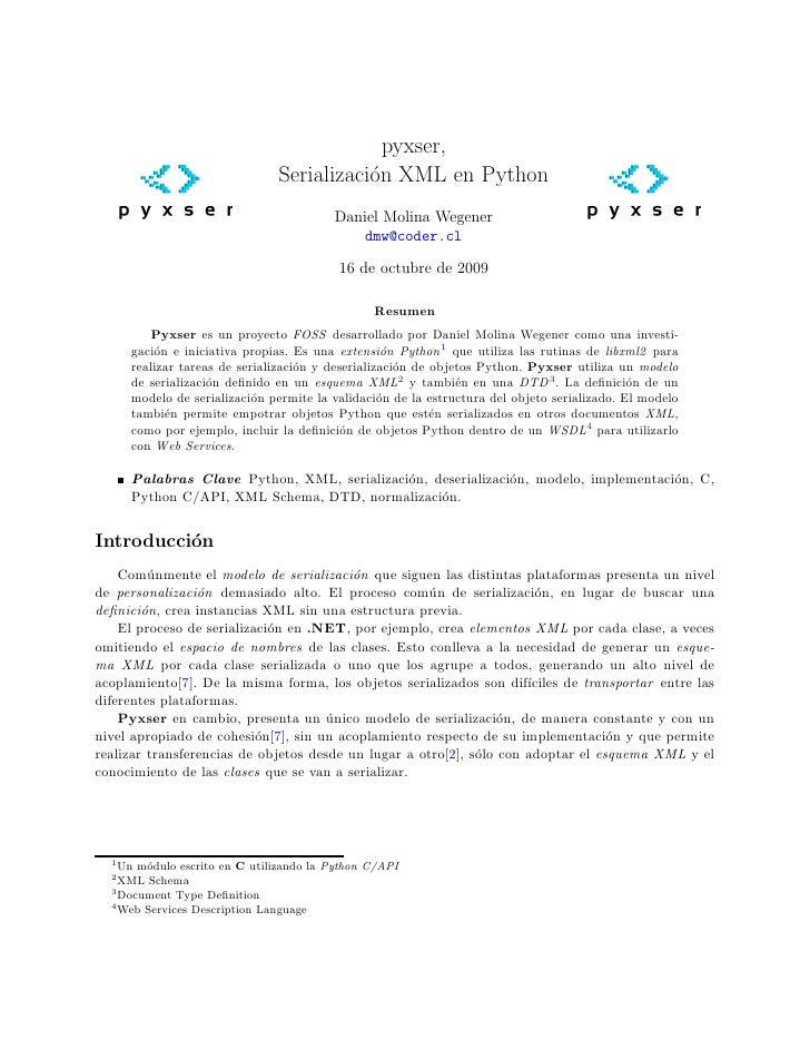 Pyxser, Serialización XML en Python (paper)