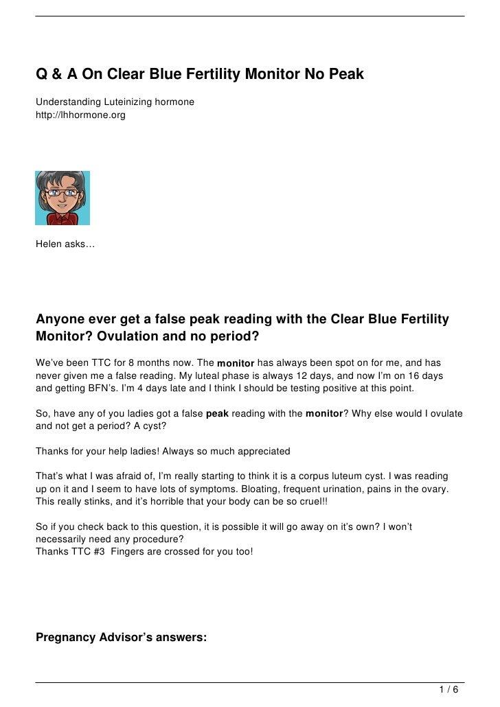 Q & A On Clear Blue Fertility Monitor No Peak