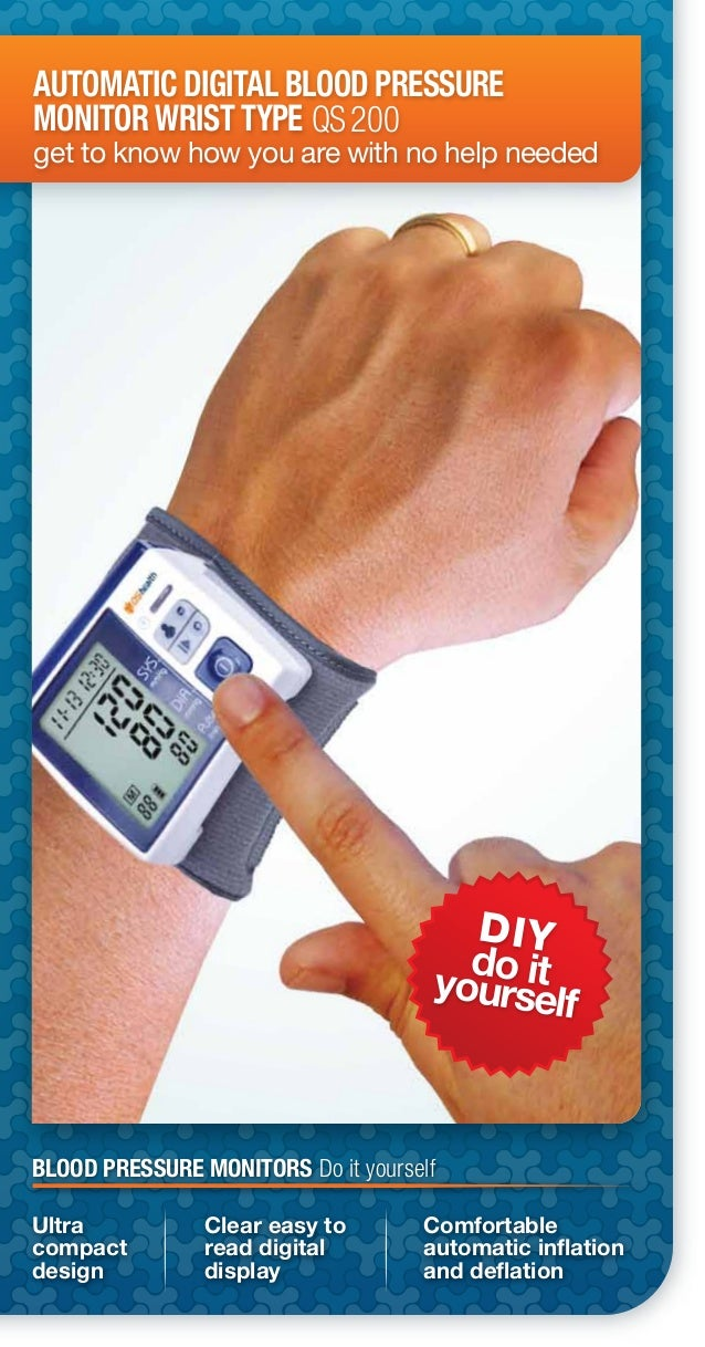 DIYdo ityourselfAUTOMATIC DIGITAL BLOOD PRESSUREMONITOR WRIST TYPEget to know how you are with no help neededQS200Clear ea...