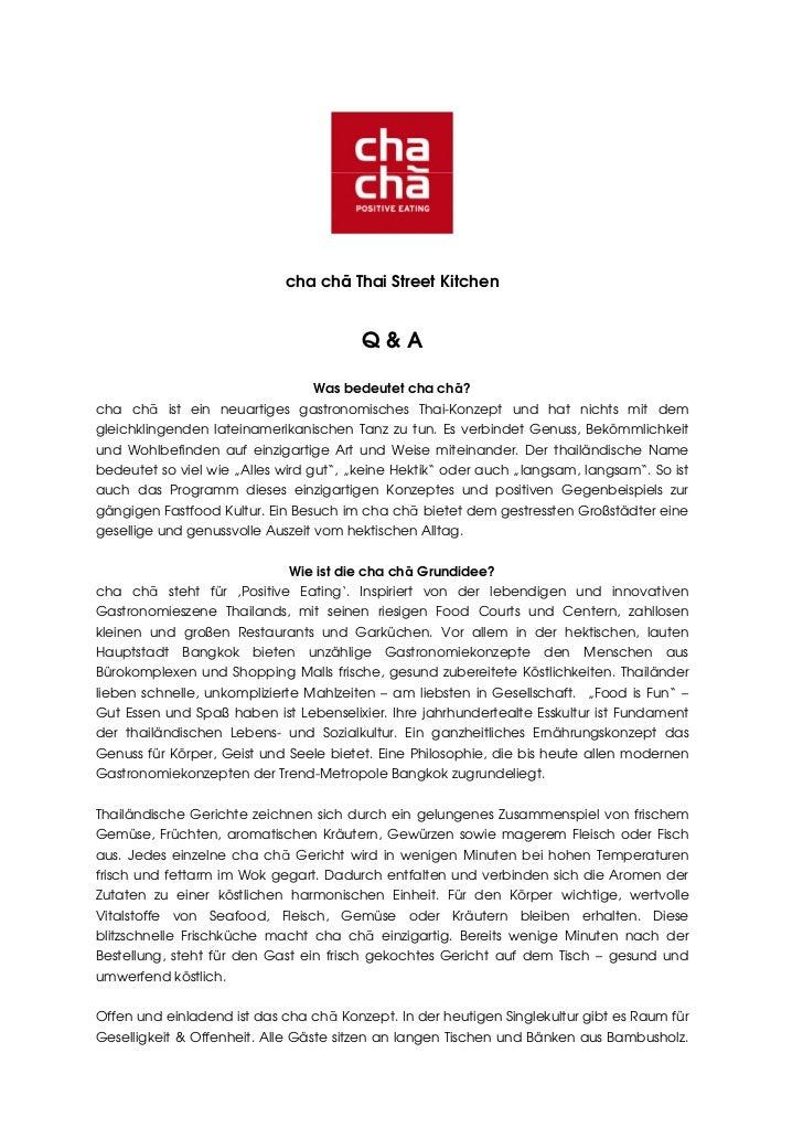 cha chā Thai Street Kitchen                                        Q&A                                 Was bedeutet cha ch...