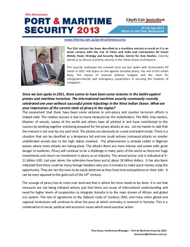 Maritime Security: Interview with Commodore RS Vasan (Retd), Head, Strategy and Security Studies, Center for Asia Studies