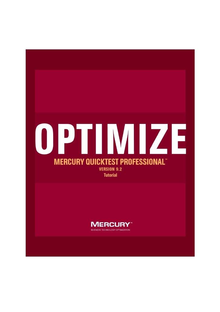 Mercury QuickTest Professional                                          Tutorial                                        Ve...