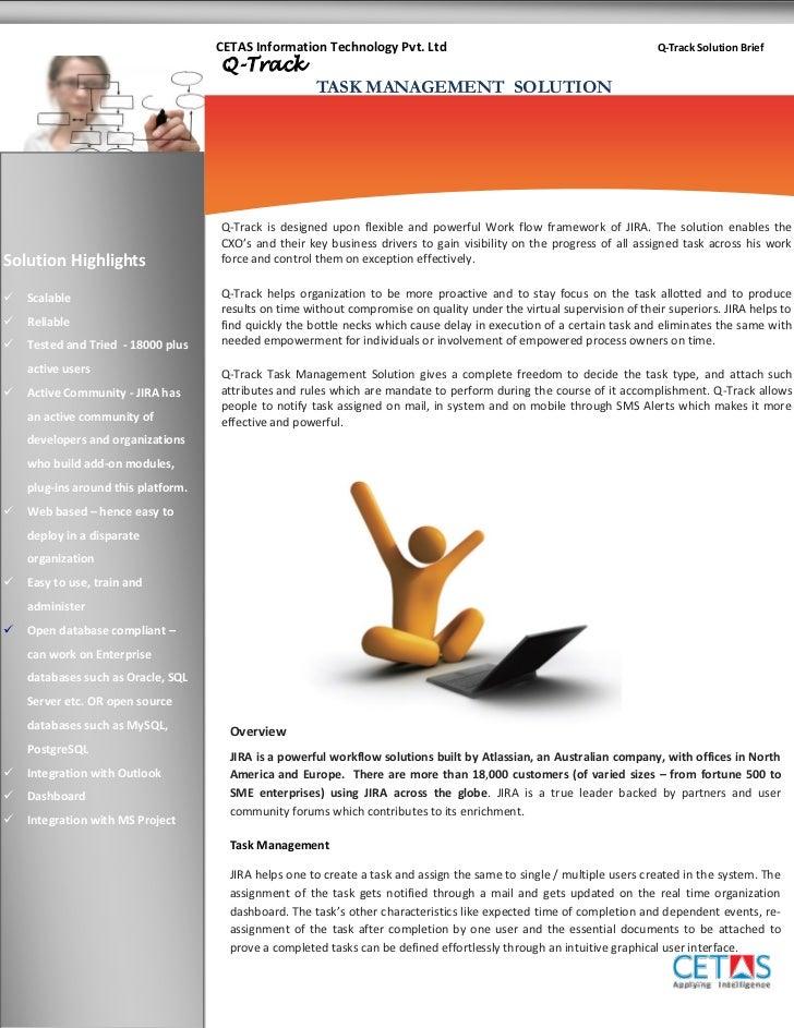 CETAS Information Technology Pvt. Ltd                                              Q-Track Solution Brief                 ...