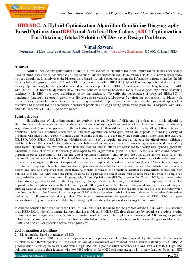 I nternational Journal Of Computational Engineering Research (ijceronline.com) Vol. 2 Issue. 7 HBBABC: A Hybrid Optimizati...