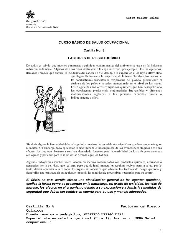 Curso Básico Salud Ocupacional Antioquia Centro de Servicios a la Salud CURSO BÁSICO DE SALUD OCUPACIONAL Cartilla No. 8 F...