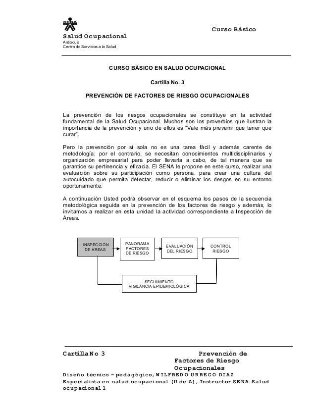 Curso Básico Salud Ocupacional Antioquia Centro de Servicios a la Salud CURSO BÁSICO EN SALUD OCUPACIONAL Cartilla No. 3 P...