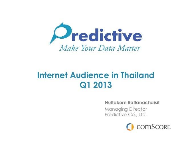Internet Audience in Thailand           Q1 2013                Nuttakorn Rattanachaisit                Managing Director  ...