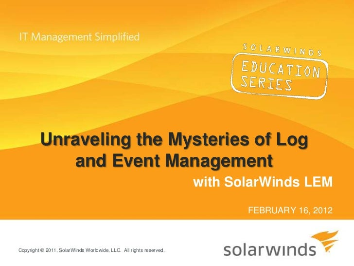 Unraveling the Mysteries of Log & Event Management: Advanced Training