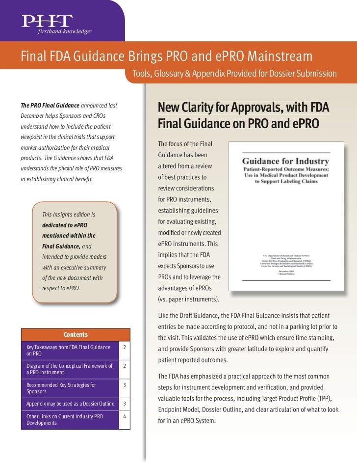 Final FDA Guidance Brings PRO and ePRO Mainstream                                                    Tools, Glossary & App...