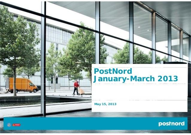 PostNordJanuary-March 2013May 15, 2013