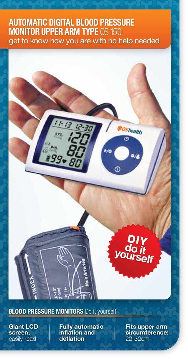 DIYdo ityourselfAUTOMATIC DIGITAL BLOOD PRESSUREMONITOR UPPER ARM TYPEget to know how you are with no help neededQS150Gian...