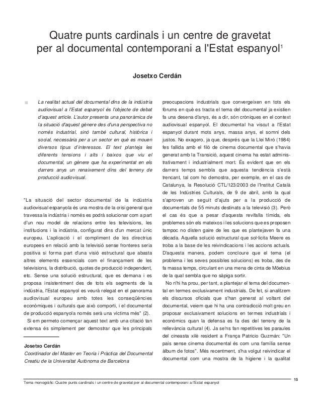 Quatre punts cardinals i un centre de gravetat per al documental contemporani a l'Estat Espanyol. Josetxo Cerdán