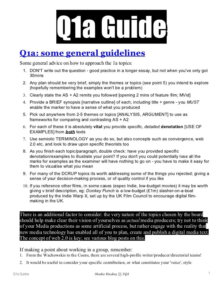 Q1a Guide    Q1a: some general guidelines    Some general advice on how to approach the 1a topics:      1. DONT write out ...
