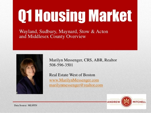 Q1 Housing MarketWayland, Sudbury, Maynard, Stow & Actonand Middlesex County OverviewMarilyn Messenger, CRS, ABR, Realtor5...
