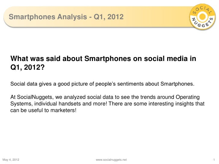 Smartphones Analysis - Q1, 2012     What was said about Smartphones on social media in     Q1, 2012?     Social data gives...
