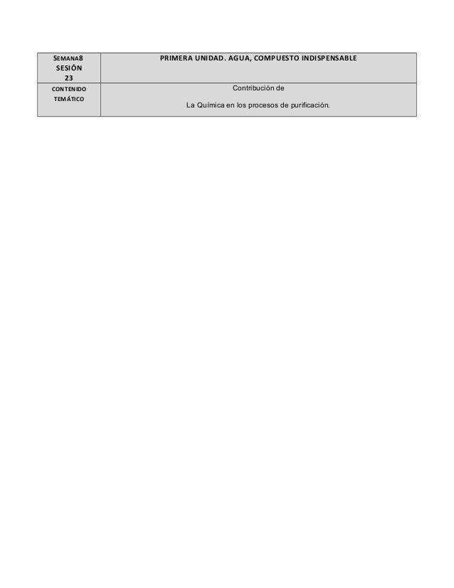 SEMANA8 SESIÓN 23 PRIMERA UNIDAD. AGUA, COMPUESTO INDISPENSABLE CONTENIDO TEMÁTICO Contribución de La Química en los proce...