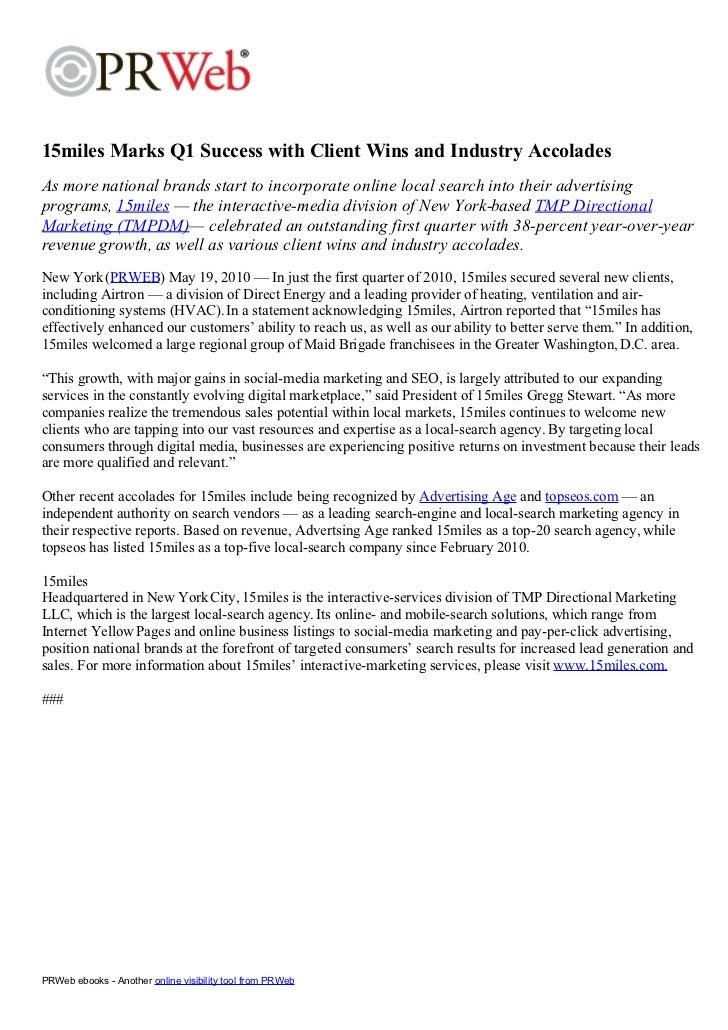 Press Release: Q1 Success