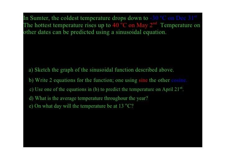 InSumter,thecoldesttemperaturedropsdownto30oConDec31st. Thehottesttemperaturerisesupto40oConMay2nd...