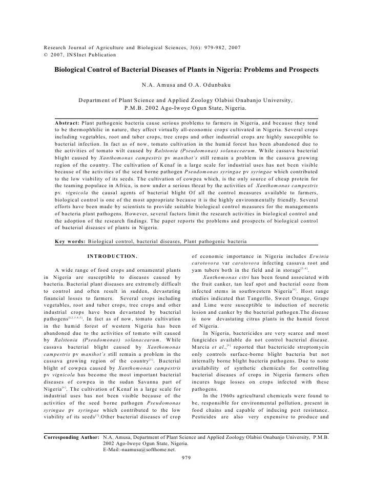 Research Journal of Agriculture and Biological Sciences, 3(6): 979-982, 2007 © 2007, INSInet Publication      Biological C...