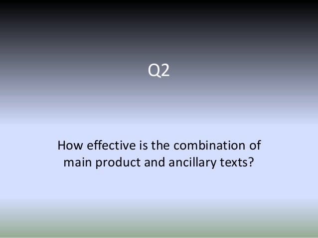 Q2  How effective is the combination of main product and ancillary texts?