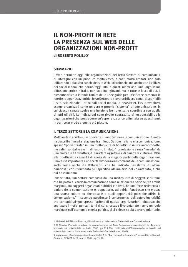 IL NON PROFIT IN RETE  IL NON-PROFIT IN RETE LA PRESENZA SUL WEB DELLE ORGANIZZAZIONI NON-PROFIT di ROBERTO POLILLO1 SOMMA...