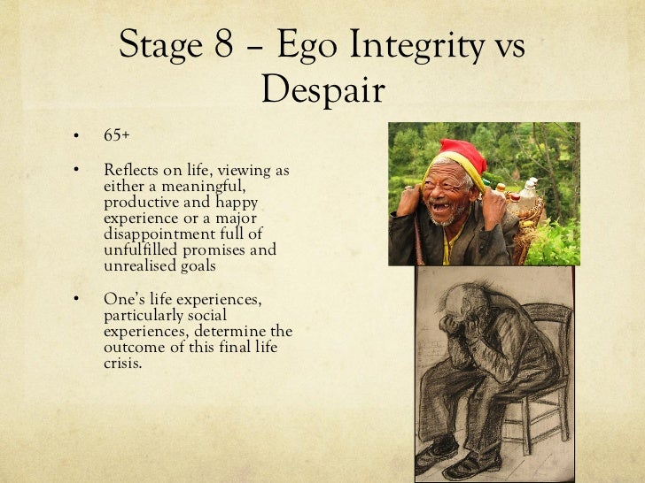 ego integrity This paper is an attempt to provide the theological dimension of erik erikson's last stage of life, the crisis of ego integrity versus despair in this crisis an.