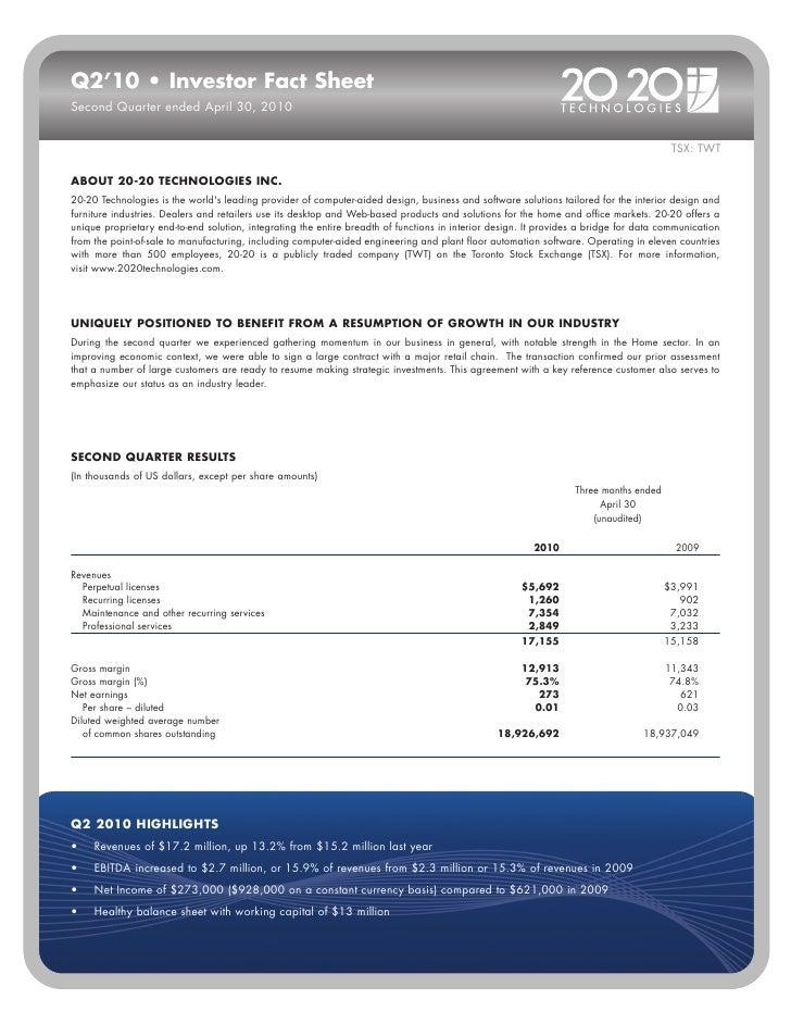 Q2' 2010 • investor fact sheet