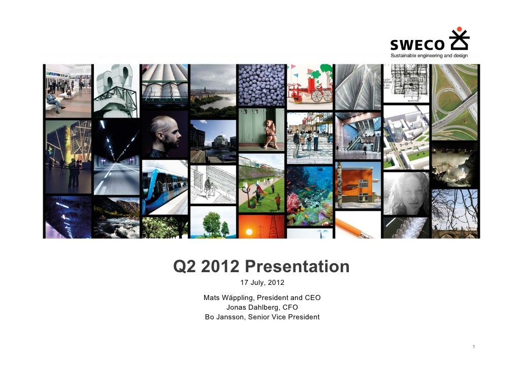 Q2 2012 Presentation                 17 July, 2012       Mats Wäppling, President and CEO             Jonas Dahlberg, CFO ...