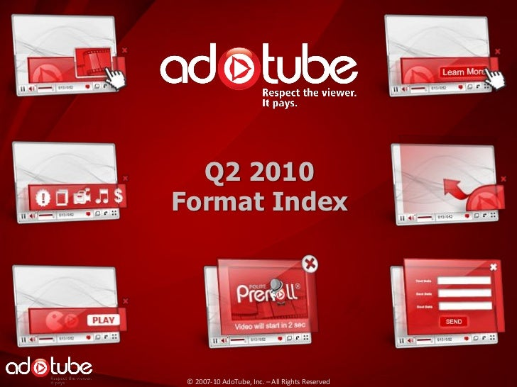 Q2 2010Format Index © 2007-10 AdoTube, Inc. – All Rights Reserved
