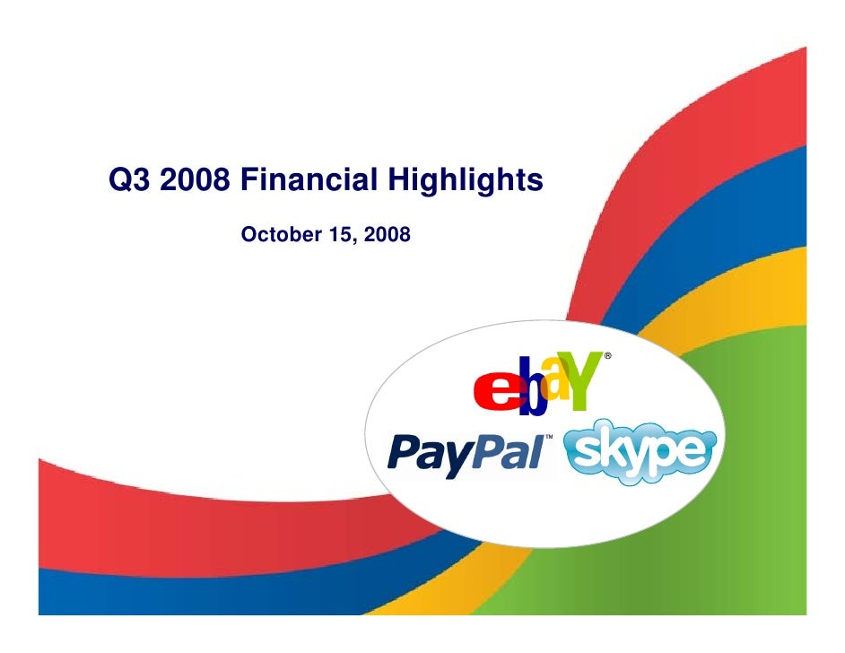 eBay 2008, Q3 Earnings