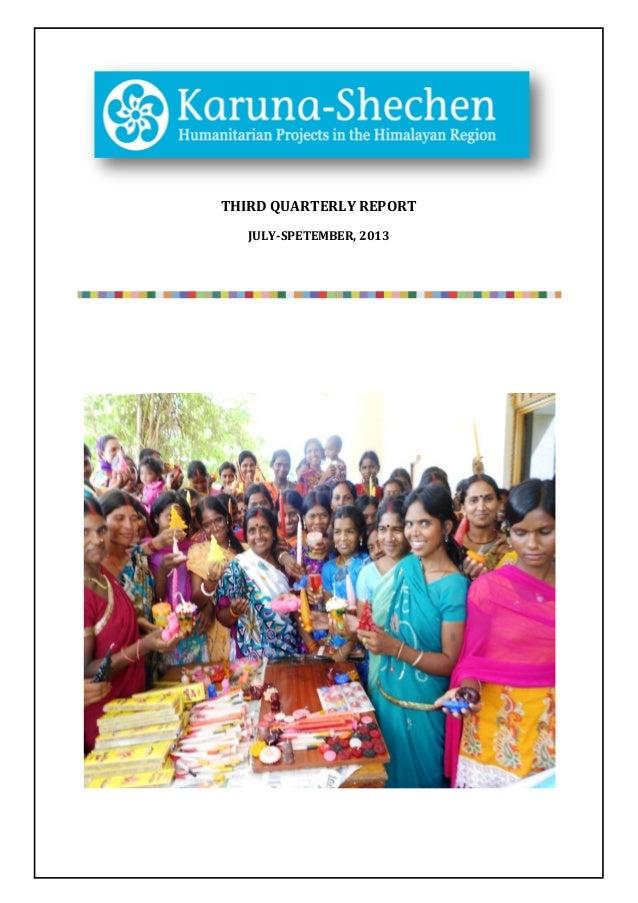 Karuna-Shechen Report 3rd trimester 2013
