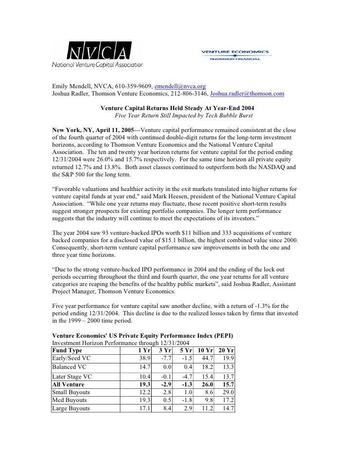 Q4 '04 Venture Capital Fund Performance