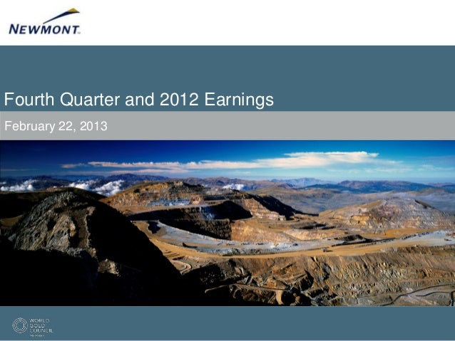 Fourth Quarter and 2012 EarningsFebruary 22, 2013