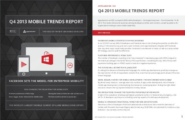 APPCELERATOR / IDC  Q4 2013 MOBILE TRENDS REPORT  Q4 2013 MOBILE TRENDS REPORT THE VOICE OF THE NEXT-GEN MOBILE DEVELOPER ...