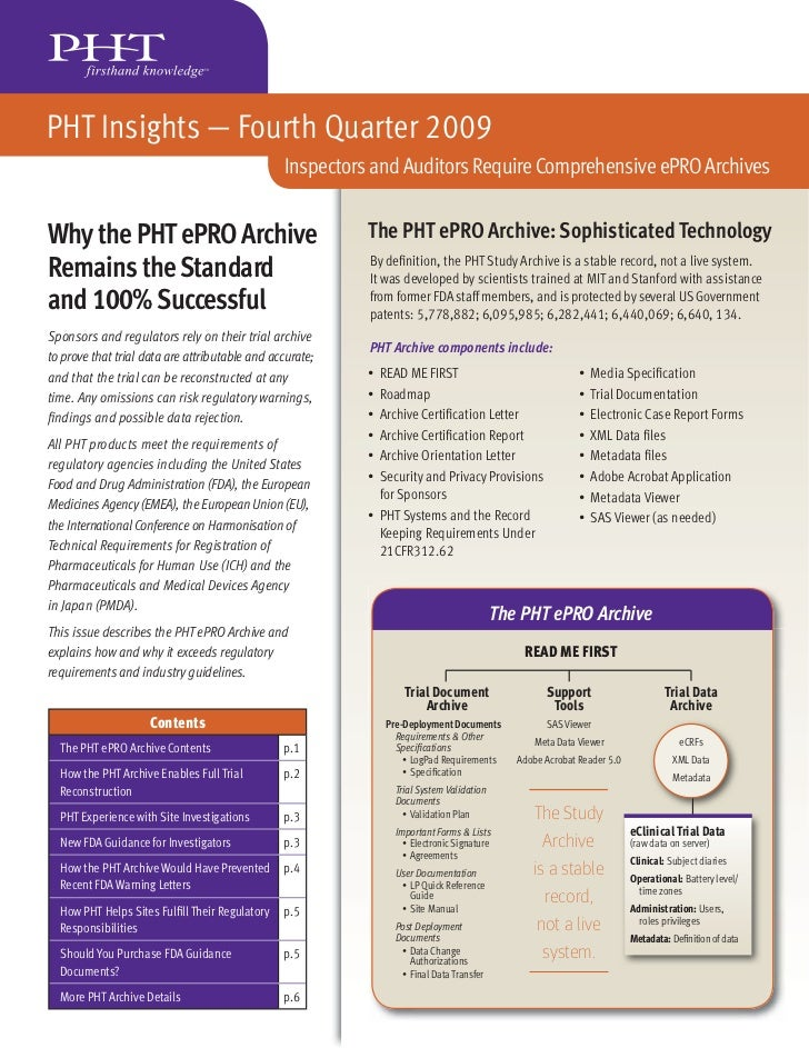 PHT Insights — Fourth Quarter 2009                                                Inspectors and Auditors Require Comprehe...